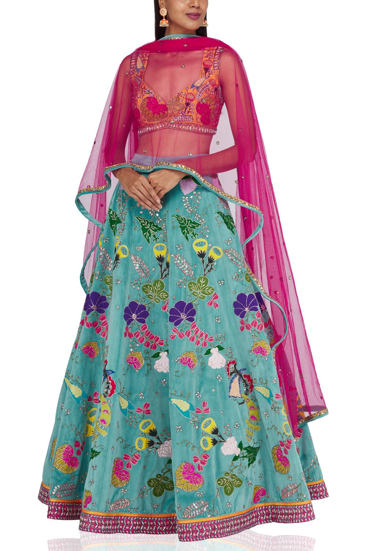 Aisha Rao blue & pink embroidered lehenga 2021