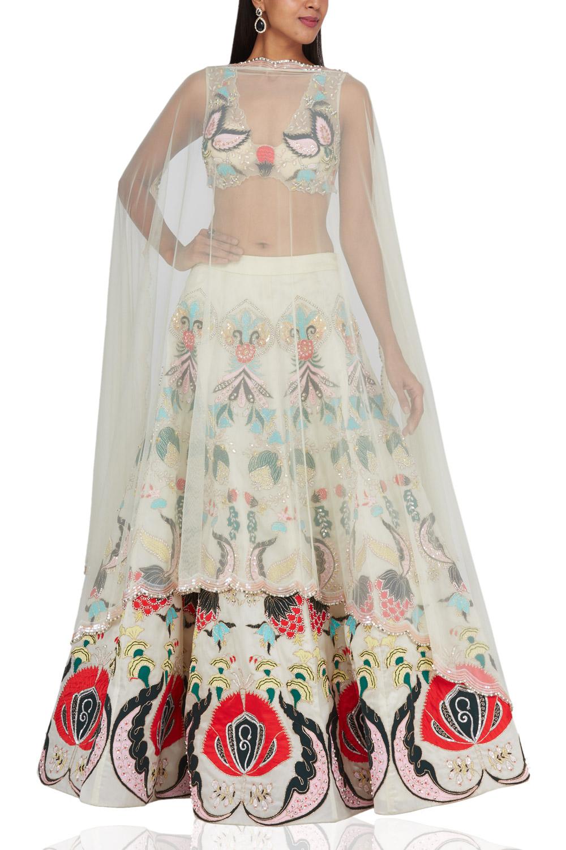 Aisha Rao Ivory embroidered raw silk
