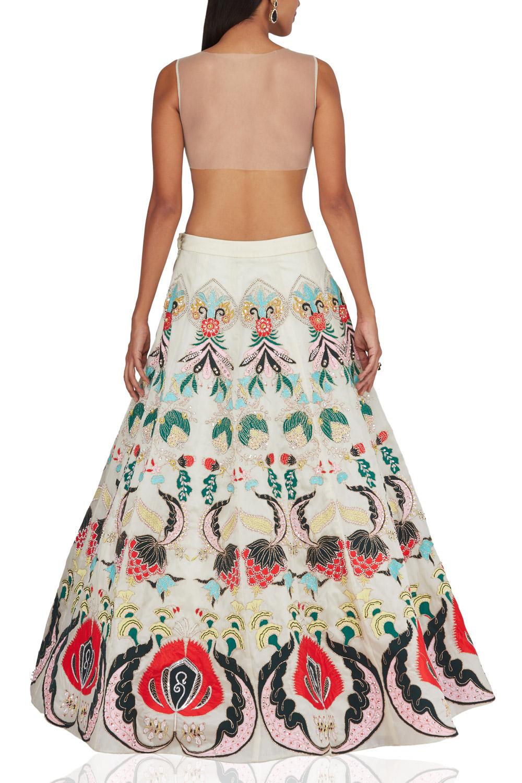 Aisha Rao Ivory embroidered raw silk back-side