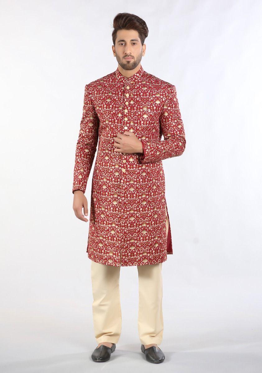 Masoori Maroon Sherwani dress from Amir Adnan