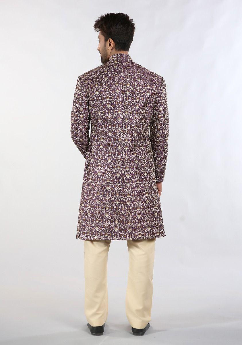 Amir Adan Messori Purple color sherwani back-side