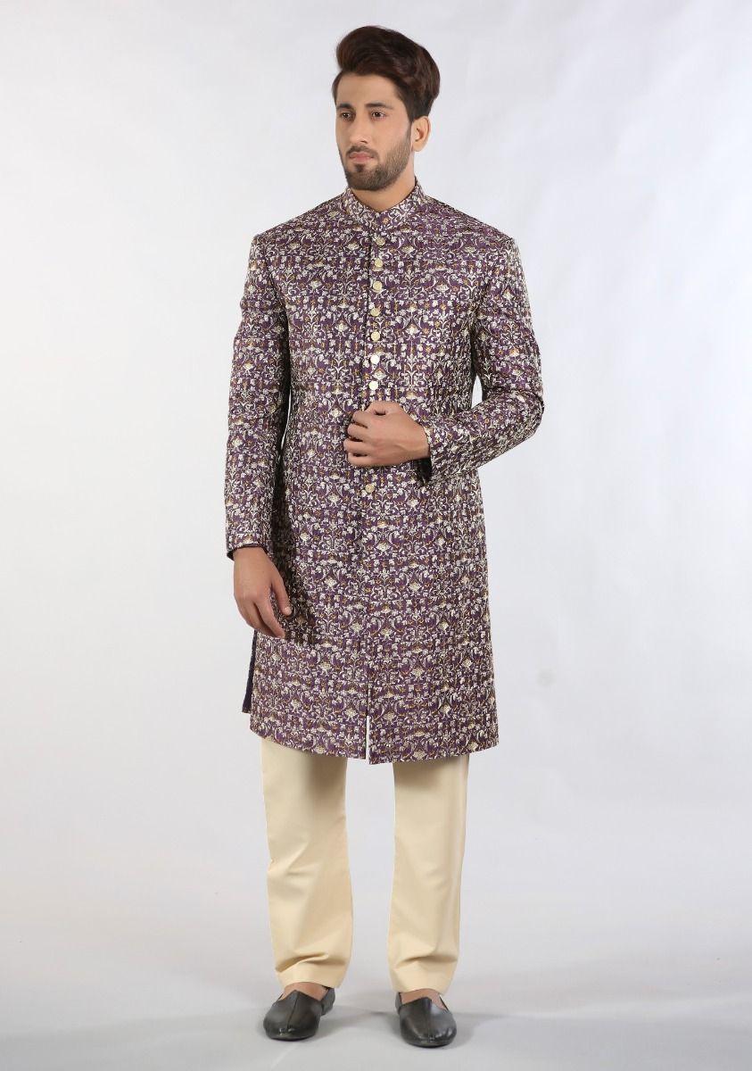 Amir Adan Messori Purple color sherwani