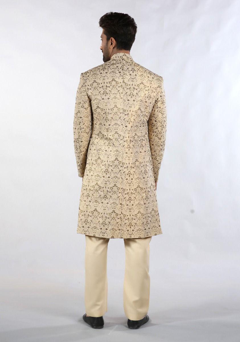 Amir Adnan Cream color sherwani Back-side