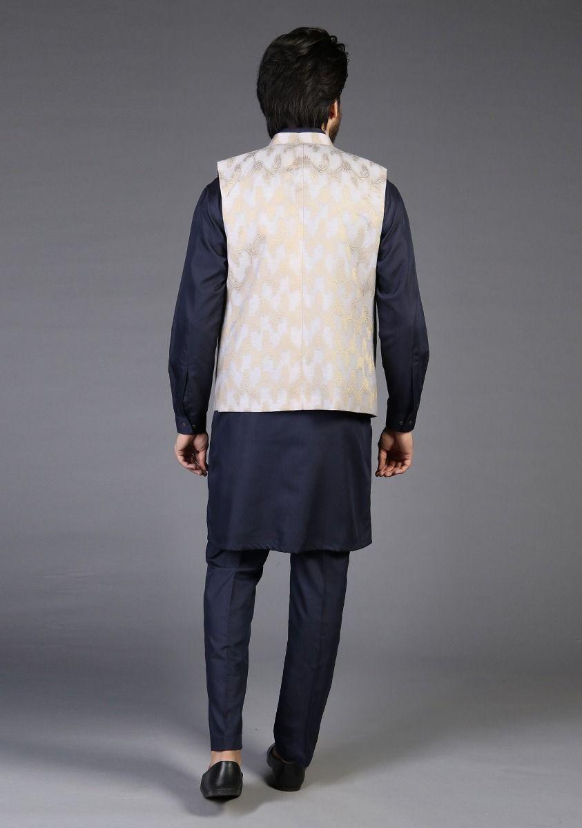 Amir Adan Icelandic Blue Color Waistcoat back-side