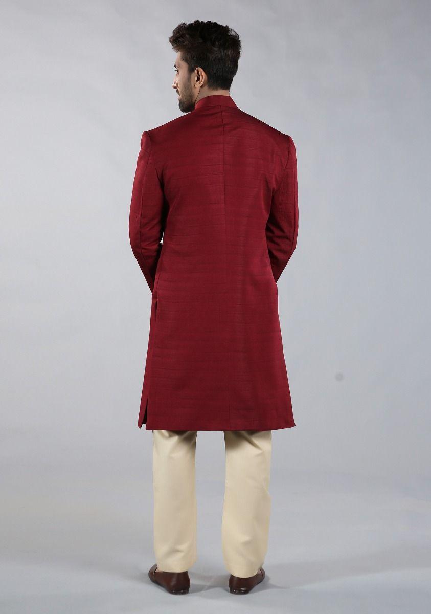 Amir Adnan Raw Silk Red color sherwani Back-side