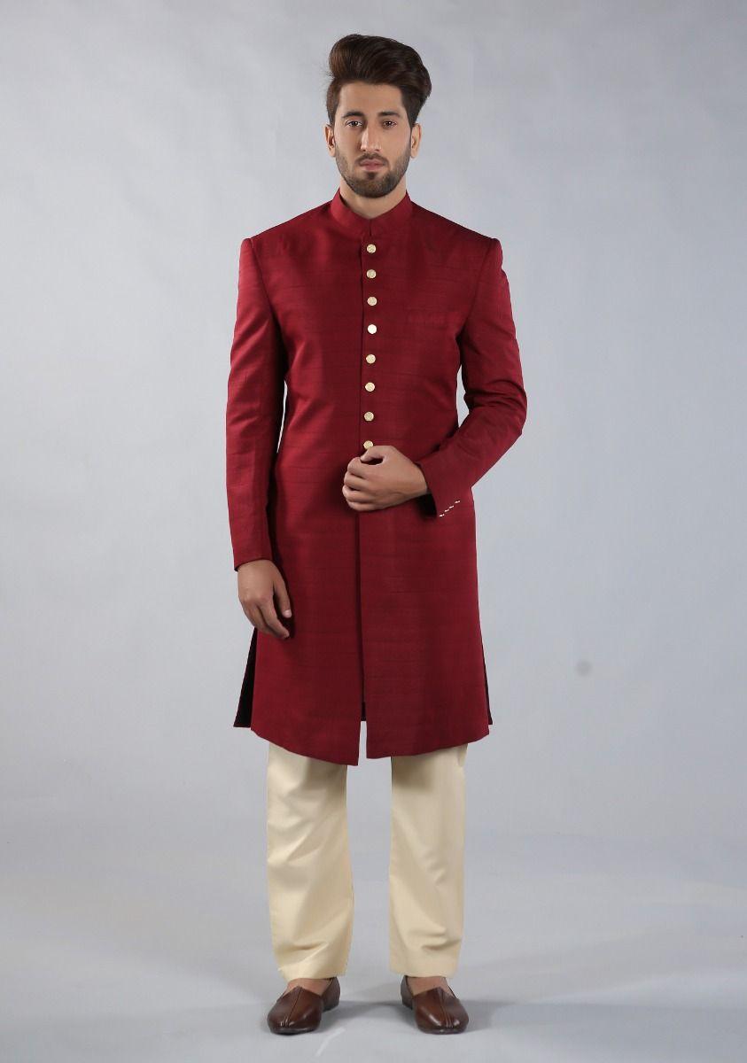 Amir Adnan Raw Silk Red color sherwani 2021