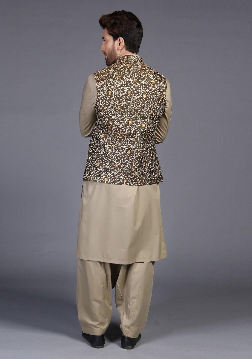 Amir Adnan brown traditional raw-silk waistcoat Back side