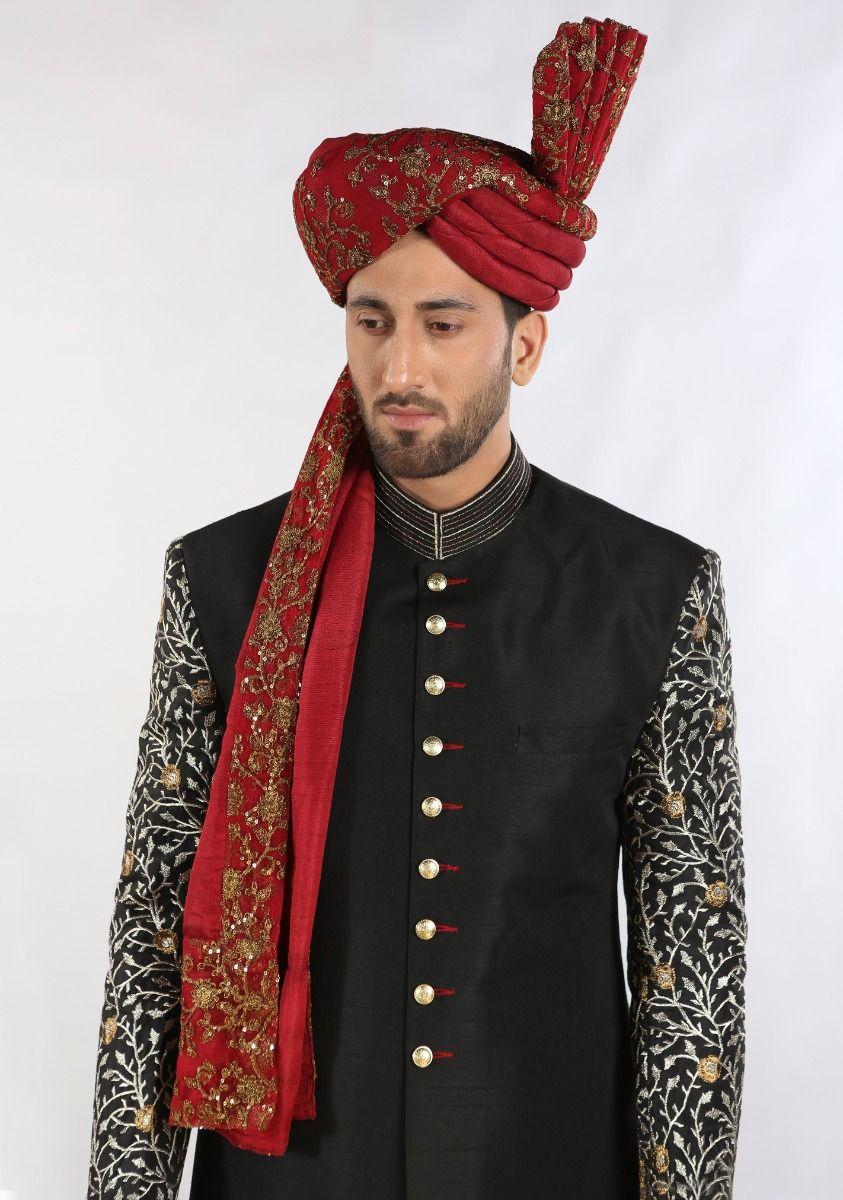 Amir Adnan Raw silk black color sherwani 2021