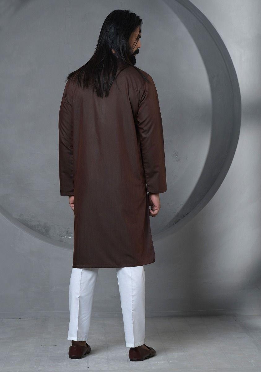 Amir Adnan dark Brown kurta Back-side
