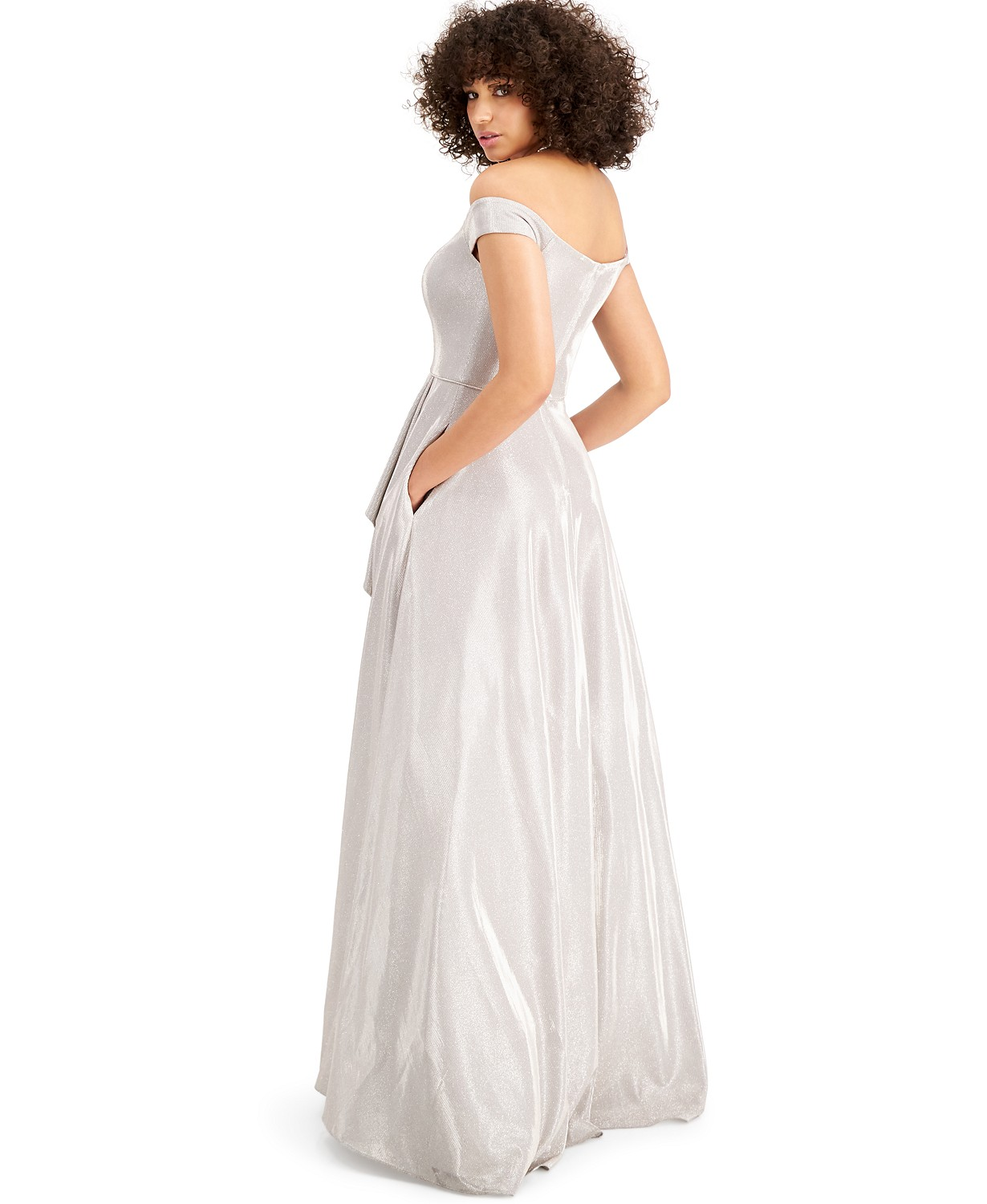 Macy's Prom Off the shoulder glitter Gown White color Back-side