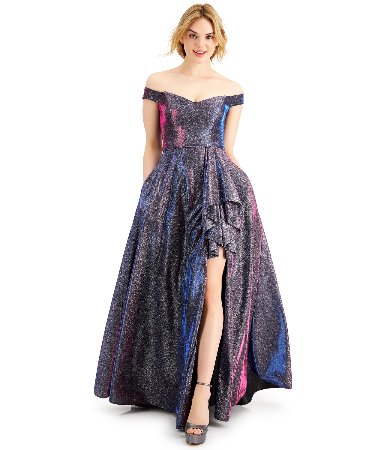 Macy's Prom Off the shoulder glitter Gown fushia color