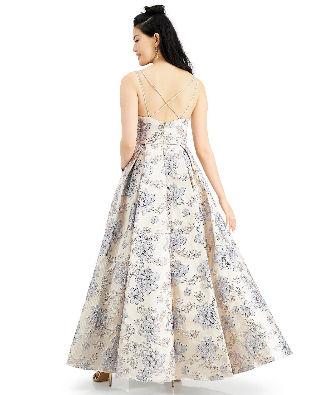 Macy's Brocade Ball Gown dress back-side