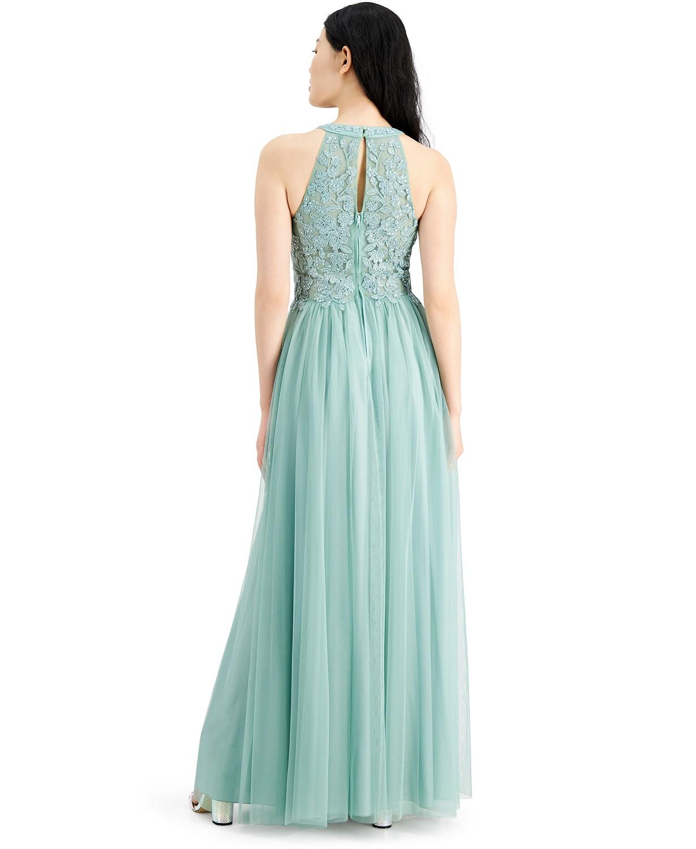 Applique-lacce halter Ball gown Sage color Back-side