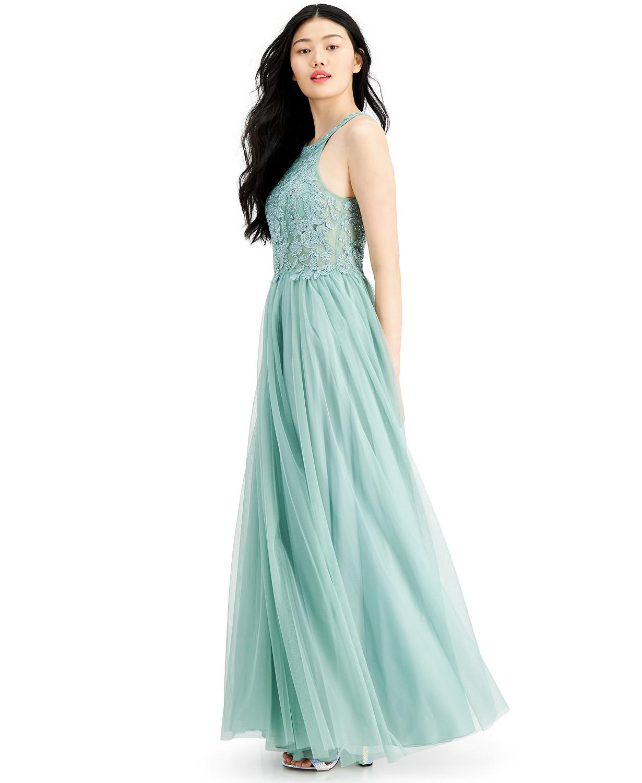 Applique-lacce halter Ball gown Sage color
