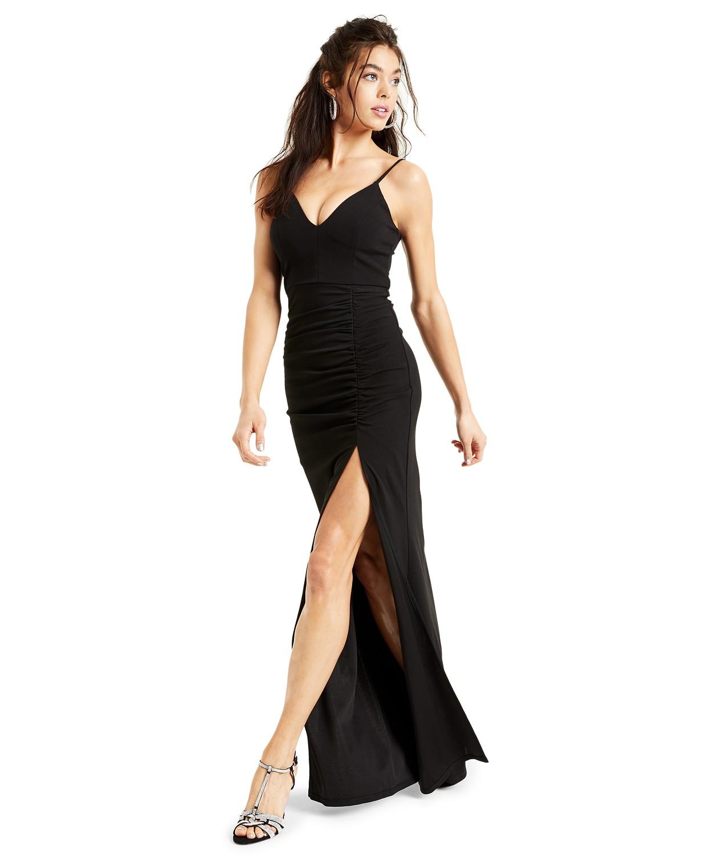 Juniors Ruched side slit slim Gown Black color dress