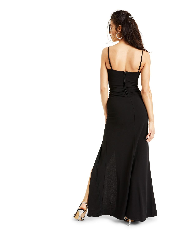 Juniors Ruched side slit slim Gown Black color dress back-side
