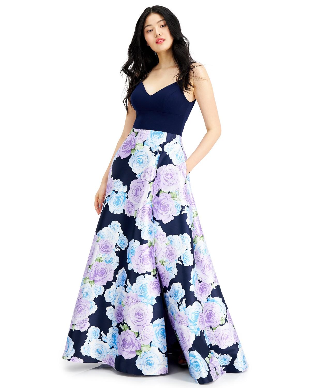 Macy's Prom Juniors floral print Gown Dress navy-purple color
