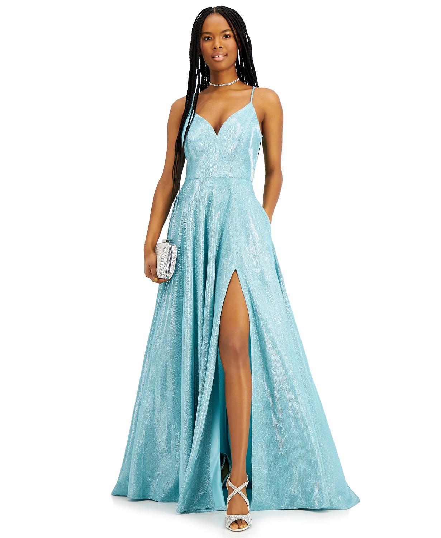 Macys prom V-neck Glitter Ball Gown dress seafoam color