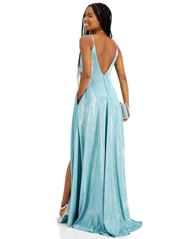 Macys prom V-neck Glitter Ball Gown dress seafoam color Back-side