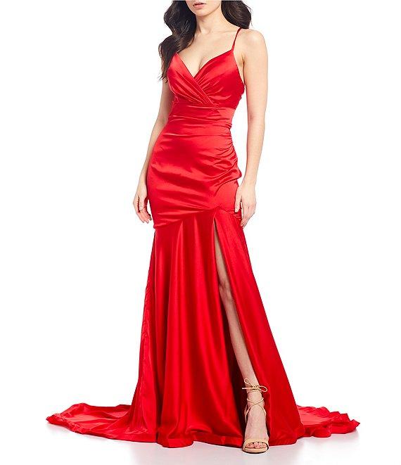 Dillard's Red color Spaghetti Strap Lace-Up Back Surplice V-Neck Slim Side Slit Satin Long prom Dress