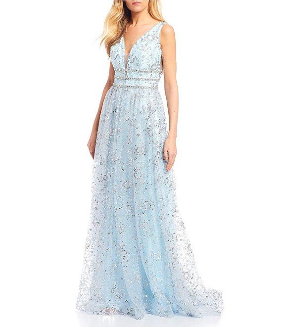 Dillard's Ice Blue Sleeveless Plunging V-Neck Triple Beaded Waist Applique Gown Prom Dress