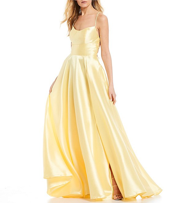 Dillard's Bright yellow Lace-Up Back High Side Slit Satin Ball Gown prom dress