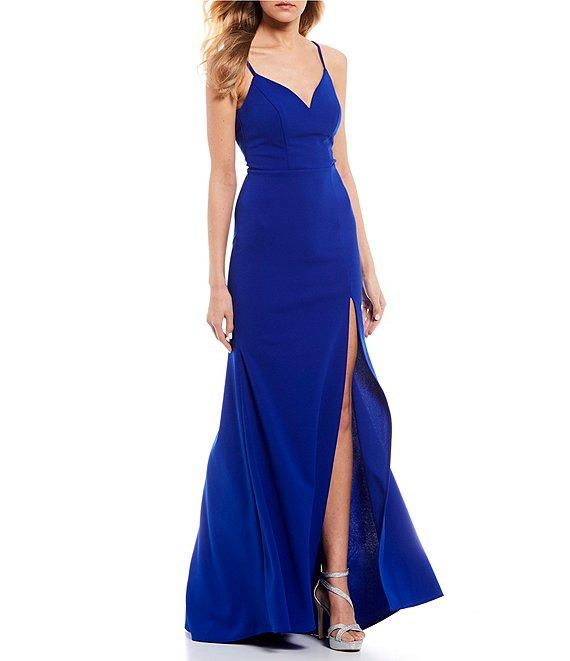 Dillard's Electric Blue V-Neck Cage Back High Side Slit Long Prom Dress