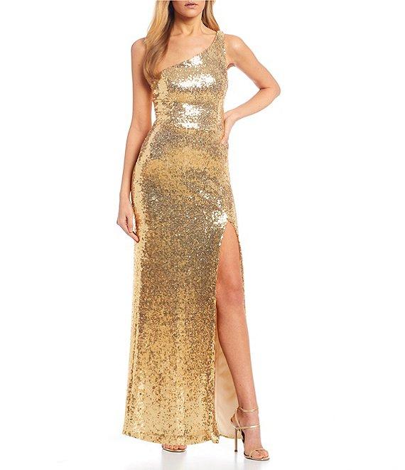 Dillard's Gold Color One Shoulder Side Slit Sequin Long Prom Dress
