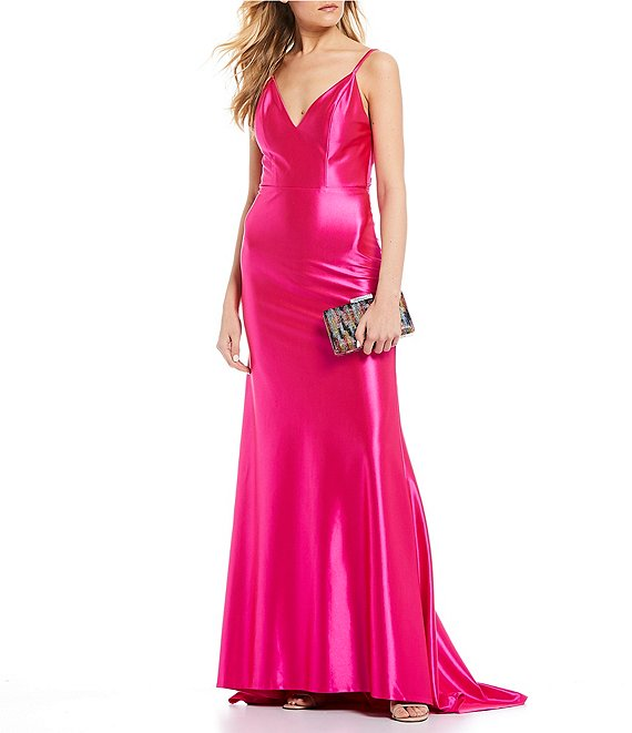 Dillard's Neon Pink Spaghetti Strap Bow-Back Stretch Satin Long Prom Dress