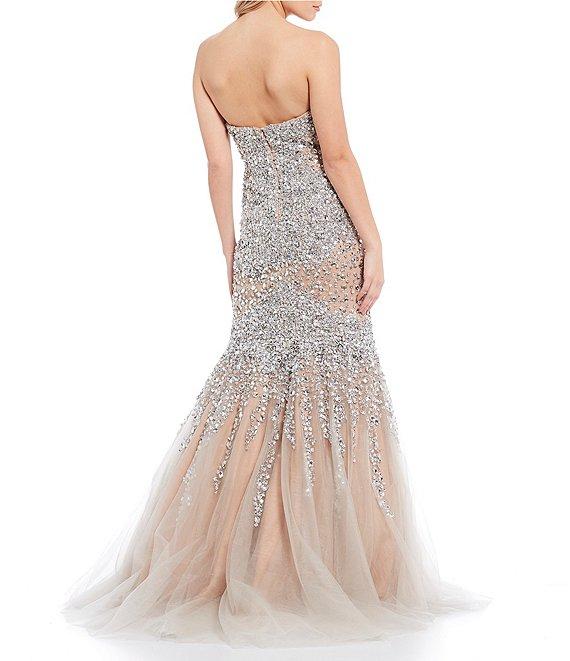 Dillard's Nude Silver Sweetheart Strapless Beaded Mesh Trumpet Prom Dress
