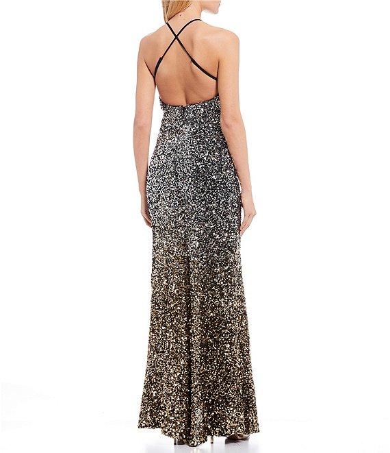 Dillard's Silver/gold/black Spaghetti Strap High Side Slit Sequin Ombre Long Prom Dress