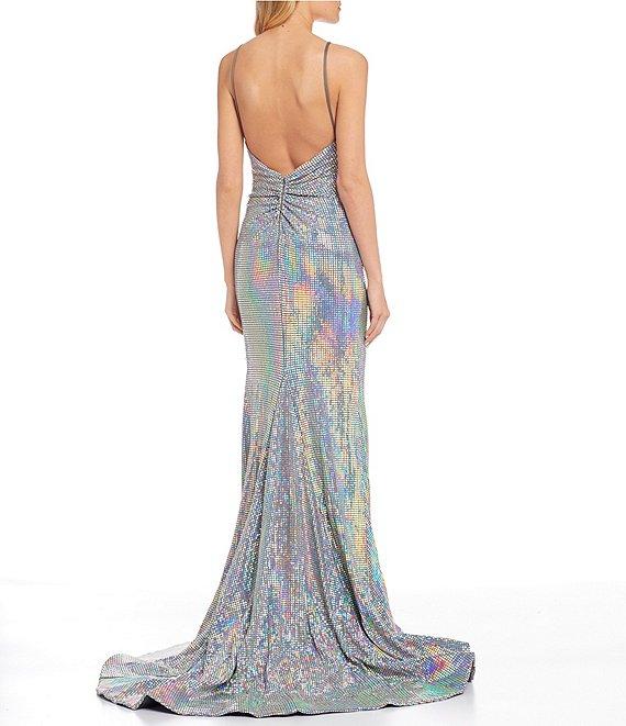 Dillard's Faux-Wrap Hologram Long Prom Dress