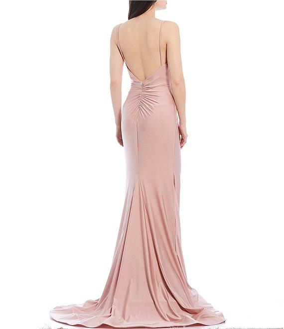 Dillard's Rose Color Spaghetti Strap V-Neck Stretch Satin Long Prom Dress