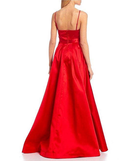 Dillard's Red Color Spaghetti Strap Asymmetric High-Low Satin Ball Gown Prom Dress