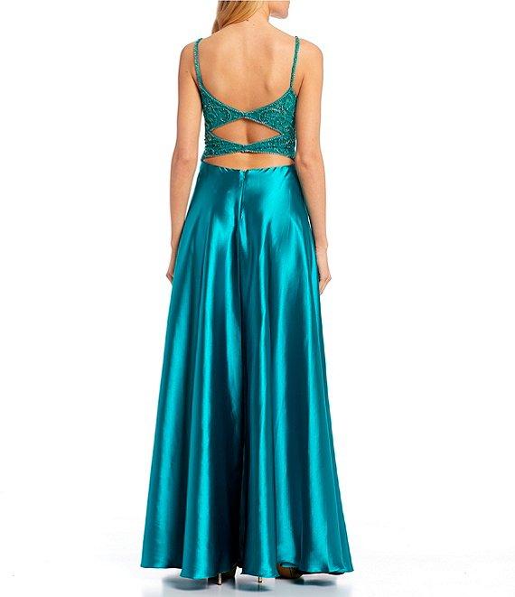 Dillard's Teal Color Spaghetti Strap V-Neck Beaded Cage-Back High Side Slit Satin Long Prom Dress