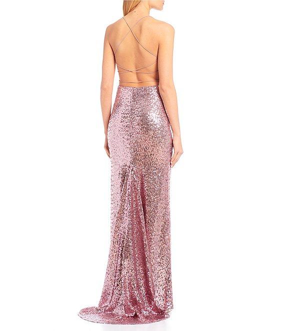 Dillard's Vintage Pink Drape Neck Sequin Long Prom Dress