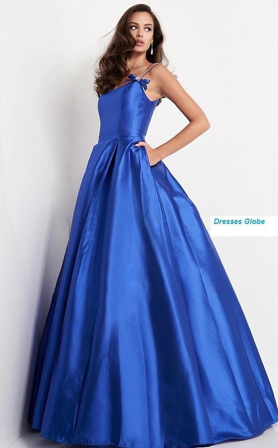 royal blue pleated skirt prom ballgown dress
