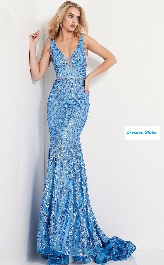 Blue Plunging sleeveless Style Prom dress