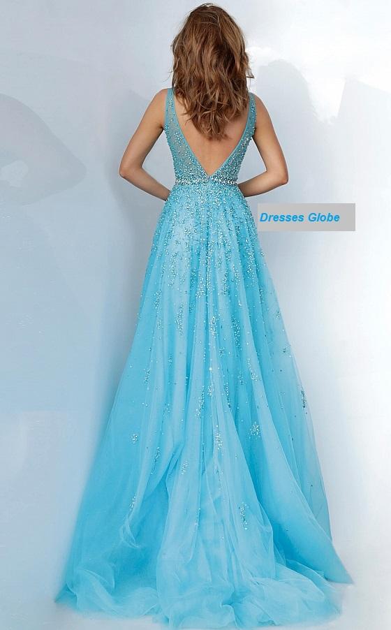 Light Blue embellished prom dress back-side