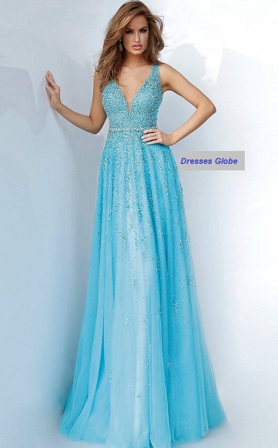 Light Blue embellished prom dress