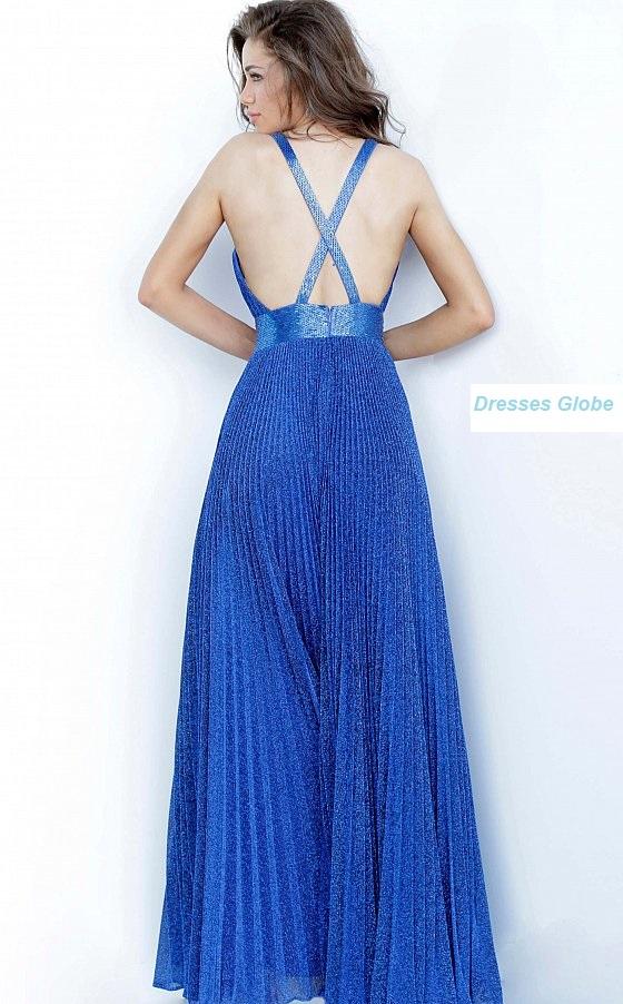 Royal Blue Prom dress V-neckline back-side