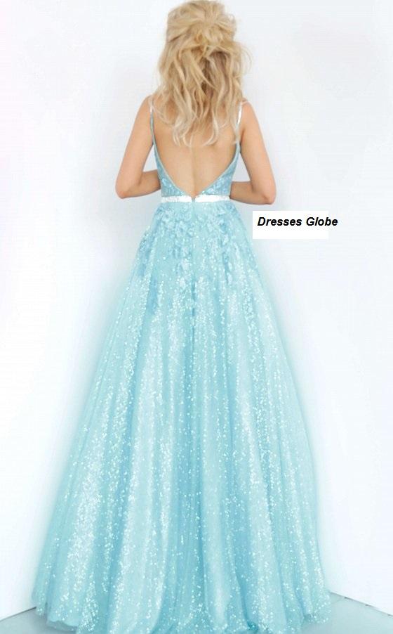 Ice blue prom dress ballgown back-side