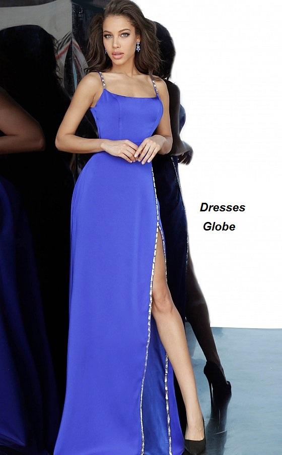 Blue prom spaghetti strap dress