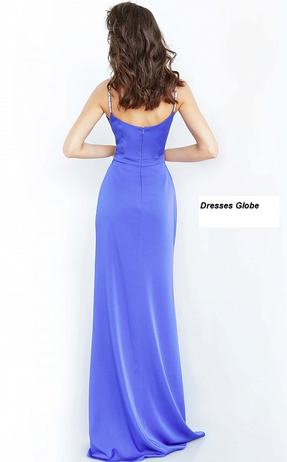 Blue prom spaghetti strap dress back-side