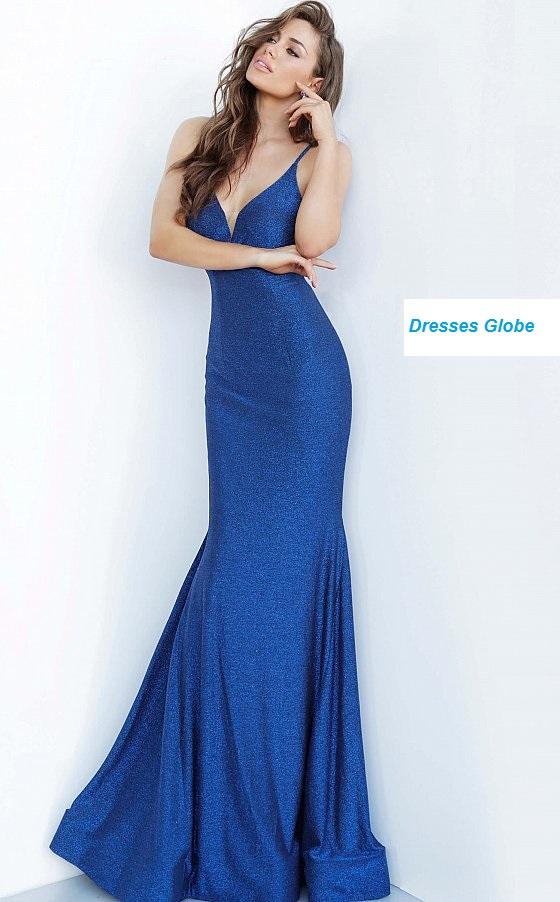 Royal Blue prom dress Plunging V-neck style