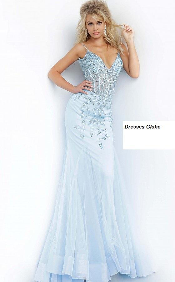 Ice blue embellished prom dress