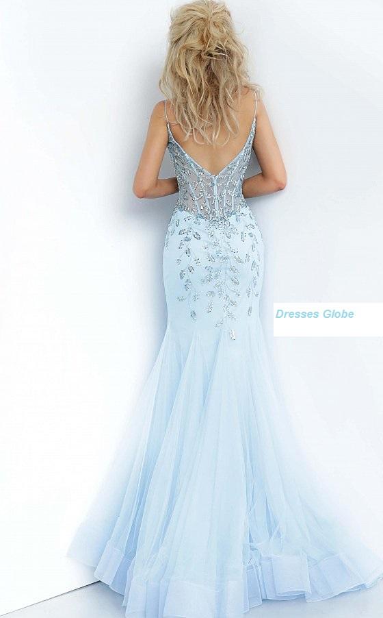 Ice blue embellished prom dress back-side
