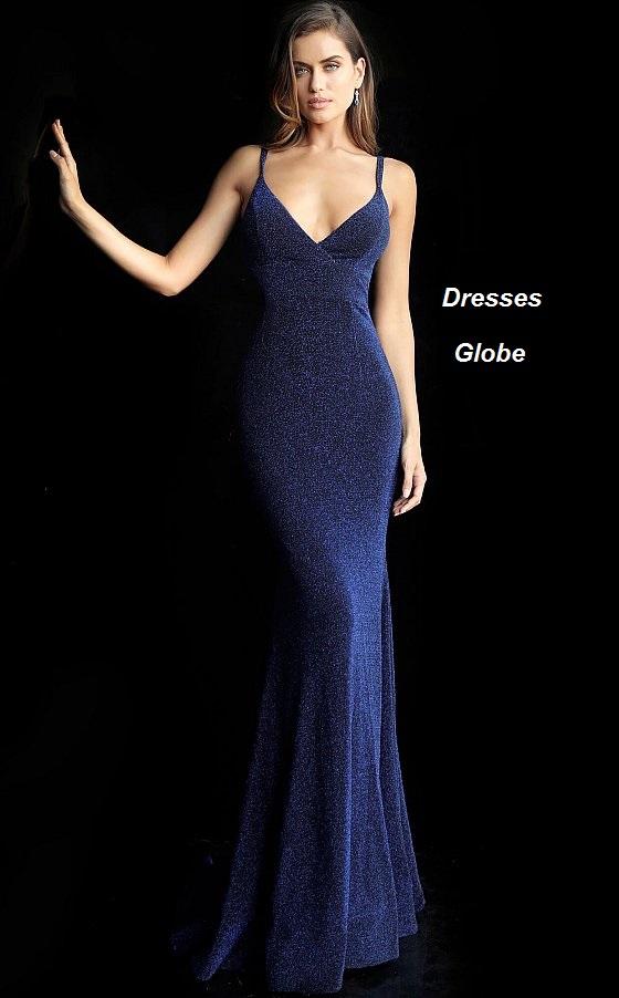 Dark navy prom dress invisible back zipper