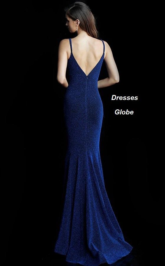 Dark navy prom dress invisible back zipper back-side