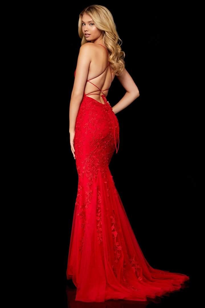 Sherri hill sexy open back red prom dress back-side